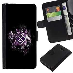 A-type (Diseño fresco Advertencia Peligro) Colorida Impresión Funda Cuero Monedero Caja Bolsa Cubierta Caja Piel Card Slots Para Sony Xperia M2