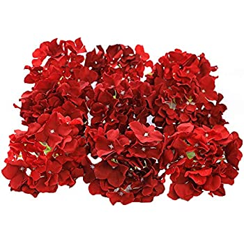 Veryhome Blooming Silk Hydrangea Flower Heads for DIY Bouquets Wedding Centerpieces Home Decor 12pcs red