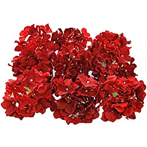 Veryhome Blooming Silk Hydrangea Flower Heads for DIY Bouquets Wedding Centerpieces Home Decor 12pcs red 22