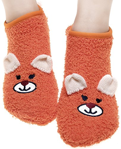 Indoor Non Slip Footies Sock Household Womens Slipper Socks for Floor Orange