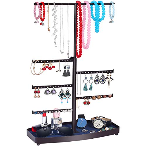 TomCare Jewelry Organizer Jewelry Tree Stand Bracelet & Necklace Holder Organizer Metal TabletopJewelry Display Tower Detachable Earring Tree Velvet Ring Tray Display for Watches Brooches, Bronze (Velvet Tree)