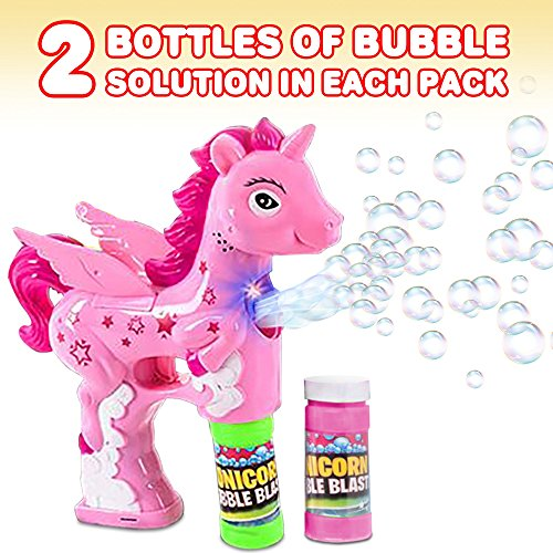 ArtCreativity Unicorn Bubble Blaster with Light and Sound | Includes 1 Bubble Gun & 2 Bottles of Bubble Solution & Batteries Installed, for Girls and Boys (Colors May Vary) by ArtCreativity (Image #3)