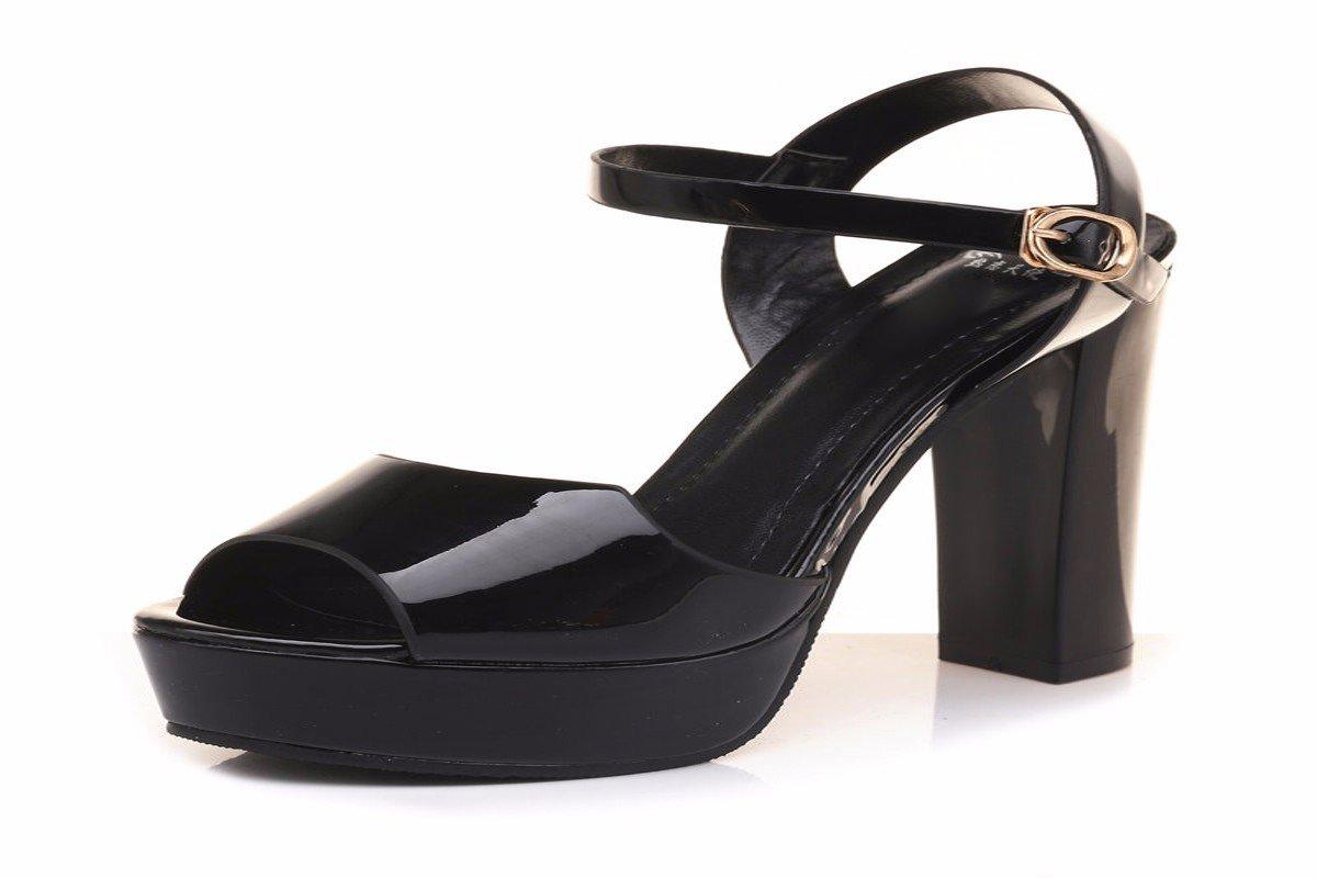 GTVERNH Damenschuhe Im Sommer Ist Das Wort 12Cm Dick mit High Heels Modische Sandalen Wasserdichte Schuhe Tabelle Fisch in Den Mund.