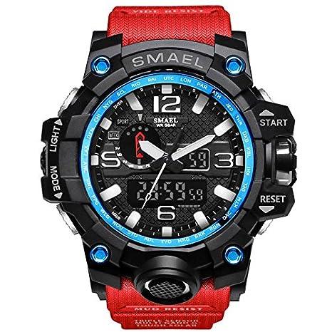 Aisence Fashion - Reloj digital deportivo para hombre, resistente al agua, multifunción, con retroiluminación LED, reloj para niño, Rojo: Amazon.es: ...