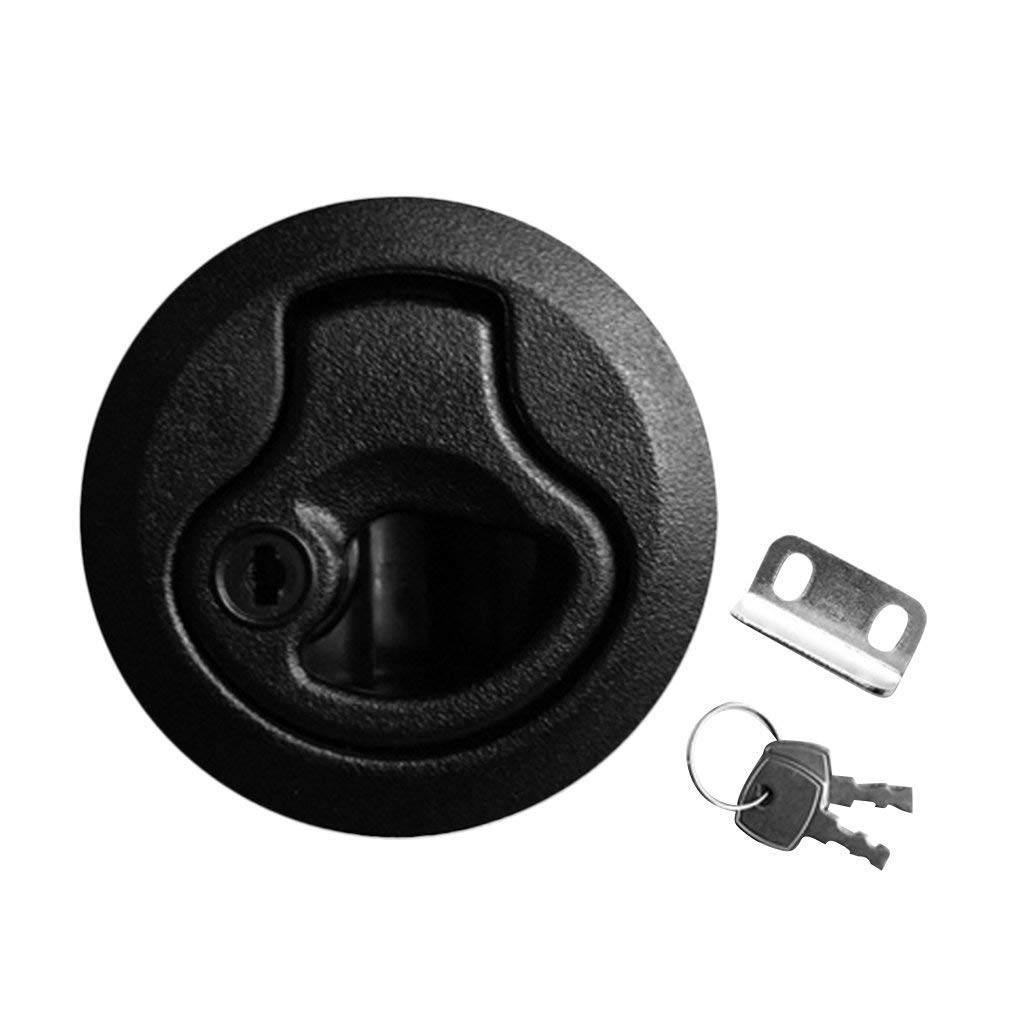 2 Pieces Nylon Lock Type Latch Boat Push-to-Close Latch Door Equipment Including Keeper and Keys fit for Marine Boat Deck Hatch Door