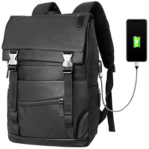 Laptop Backpack with USB Charging Port, Veckle Waterproof Resistant Computer Bag Nylon Business Bags College School Daypack Travel Shoulder Bag Backpack for Man, Women, 15.6 Inch Laptop and Notebook