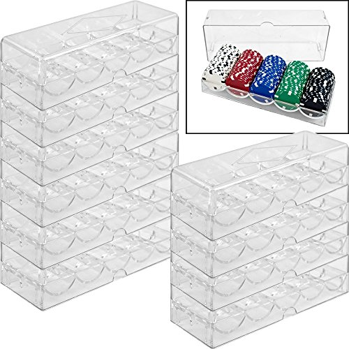 CLEAR ACRYLIC POKER CHIP TRAYS WITH LIDS (PACK OF 10) by CHH IMPORTS