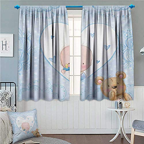 zojihouse Gender Reveal Little Baby Boy and Teddy Bear Toy Heart Shaped Cute Design Pale Blue and Sand Brown 55