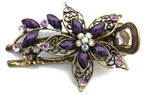 Vwhite Womens Flower Crystal Hair Clips Barrettes Hair Accessories Purple