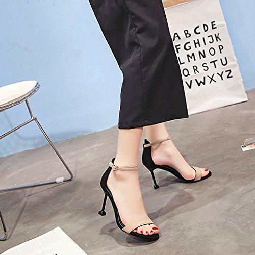 SHOESHAOGE Sandales Femme Fine Avec Le Dew-Hollow Fendue Pour Minimaliste Roman Noir Chaussures Femmes 8Cm High-Heel Shoes EU37 CxaFX4E