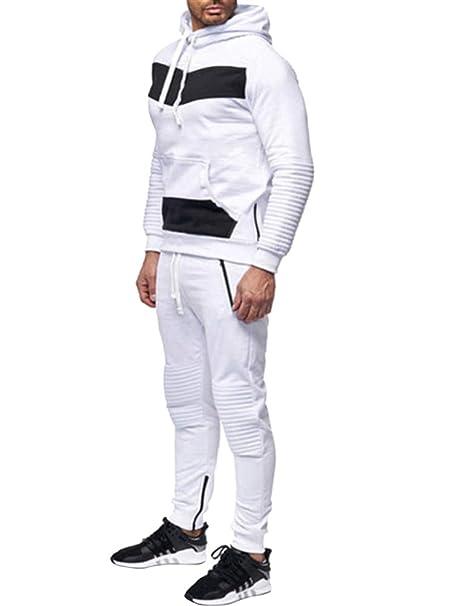 Minetom Chándal para Hombre Tracksuit Entrenamiento Sudaderas con Capucha Joggers Gym Suit Top y Pantalones Fútbol Marciales Ejercicio Running Workout: ...