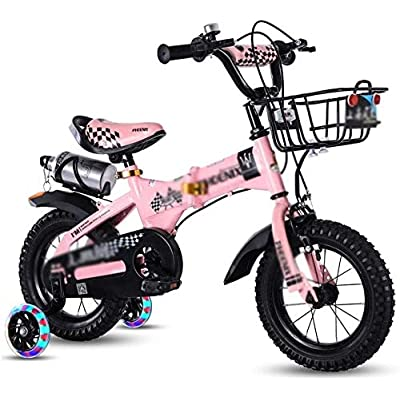 no logo NIAN Kids Bike Boys Girls Freestyle Bicycle with Training Wheels Kickstand Child's Street Dirt Bike Bicycle Child Tricycle high Carbon Steel Frame with Basket Student Bicycle: Home & Kitchen