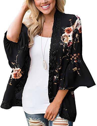 Kimono Floral Top (Basic Faith Women's Boho Floral Print Kimono Tops Trumpet Sleeve Cover Up Cardigans Black M)