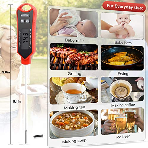 Meat Thermometer,Instant Read Digital Thermometer Waterproof with Super Long Probe for BBQ, Meat, Candy, Oil,Liquid, Milk Home Grilling Cooking Kitchen Thermometer
