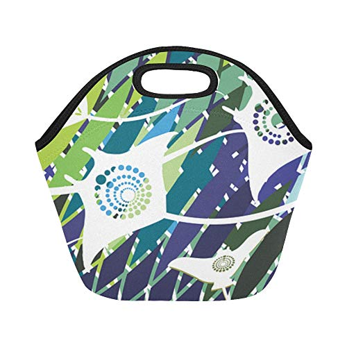 Box Zone Nature (Insulated Neoprene Lunch Bag Stingrays Mar Ocean Mosaic Movement Water Nature Large Size Reusable Thermal Thick Lunch Tote Bags For Lunch Boxes For Outdoors,work, Office, School)