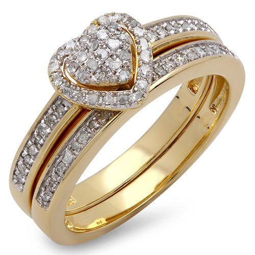 18k Yellow Gold Plated Ring (0.23 Carat (ctw) 18K Yellow Gold Plated Silver Round Diamond Heart Bridal Ring Set 1/4 CT (Size 8))