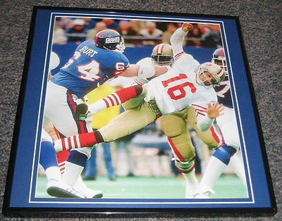 (Jim Burt Sacks Joe Montana 1987 NFC Playoffs Giants Framed 12x12 Poster Photo)