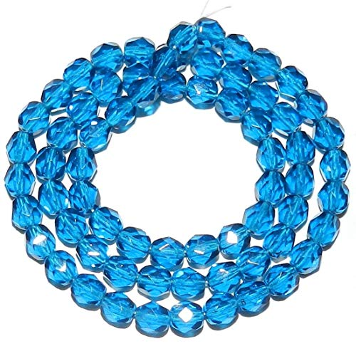 Bead Jewelry Making Dark Aqua Blue Czech Fire-Polished 6mm Faceted Round Glass Bead 16