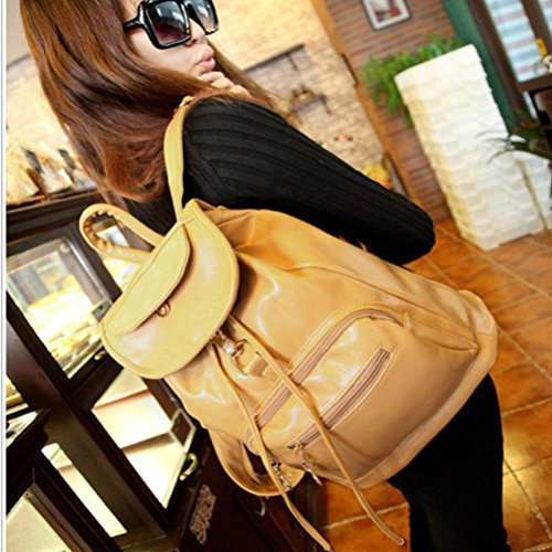 Handbag Shoulder Khaki Tuscom Backpack 35��30��15CM Leather Women's Vintage Double qpEwPY