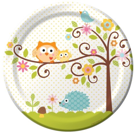 8-Count Round Paper Dinner Plates, Happi Tree Sweet Baby]()