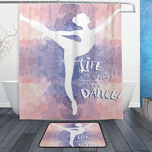 ALAZA Artistic Silhouettes Ballerina Dancer Polyester Shower Curtain Set Fabric Bathroom Curtain Suit with Mat Rug 12 Hooks