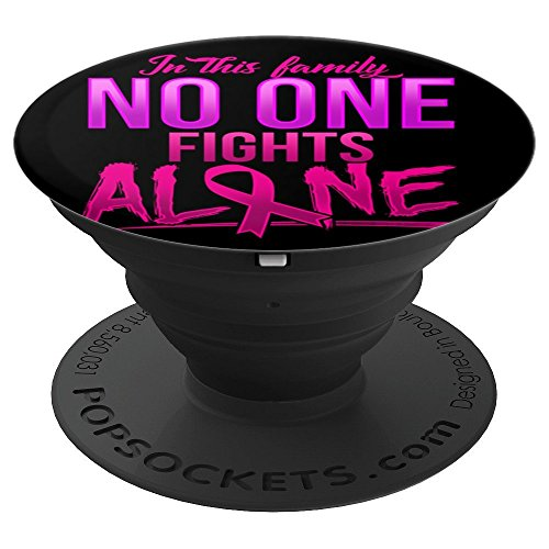 Family Breast Cancer October Gift Pink Ribbon - PopSockets Grip and Stand for Phones and Tablets