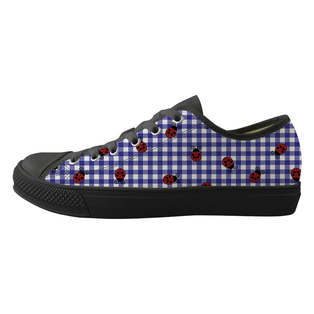 Classic Sneakers Unisex Adults Low-Top Trainers Skate Shoes Ohio Symbol Ladybugs On Plaid