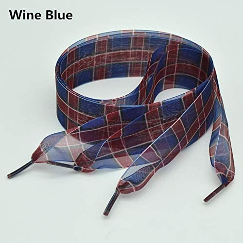 TMYQM 4センチメートルグリッドシフォンオーガンザ靴ひも80/100/120/160センチ長ちょう結びスニーカースポーツシューズ白靴ひも広げ (Color : Wine Blue, Size : 80cm)