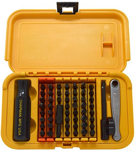(Chapman MFG 5575 Master Screwdriver Set 56 Pieces - Includes Phillips, Metric, Slotted, SAE & Metric Hex Bits, Star Bits (for Torx Screws), Complete Set Offers 51 Insert Bits, 300+ Combinations)