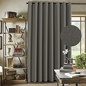 Thermal Insulated Solid Color Patio Curtains, Textured Rich Linen Energy Smart Ring Top Sliding Door Panel for Large Window, 100 W x 96L inch - Taupe Gray