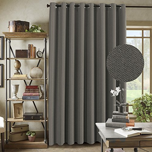 Patio Door Linen Curtains for Sliding Door -Extra Long and Wide Vertical Blinds Thermal Insulated Textured Rich Linen Drapes for Glass Door (Taupe Gray, 100