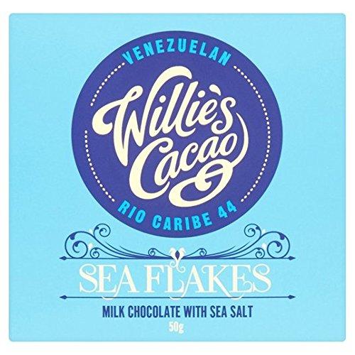 Chocolate con leche Cacao de Willie con sal marina Flakes 50g: Amazon.es: Alimentación y bebidas