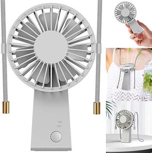 Baozun Ventiladores USB,Mini Ventilador de Mano Portátil con Cuerda para Colgar Puede Girar 90 Grados 3 Velocidades Eléctrico Ventilador Batería Recargable para Oficina,Hogar,Aire Libre Viajes(Gris): Amazon.es: Electrónica