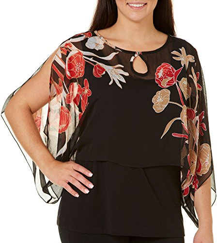 Hearts of Palm Plus Rhythm & Rouge Bouqet Top 3X Black/red/beige