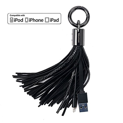 Lightning Cable USB Leather Tassel Key Chain iPhone Charger, Nkomax USB A to Lightning Compatible Cable with 7-Inch 2.4 Amp Lightning ChargeSync Cable for iPhone, iPad and iPod (Black)