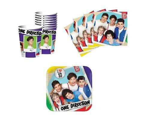 One Direction Birthday Party Supplies Set Plates Napkins Cups Kit for 16 by Designware (One Direction Party Games compare prices)