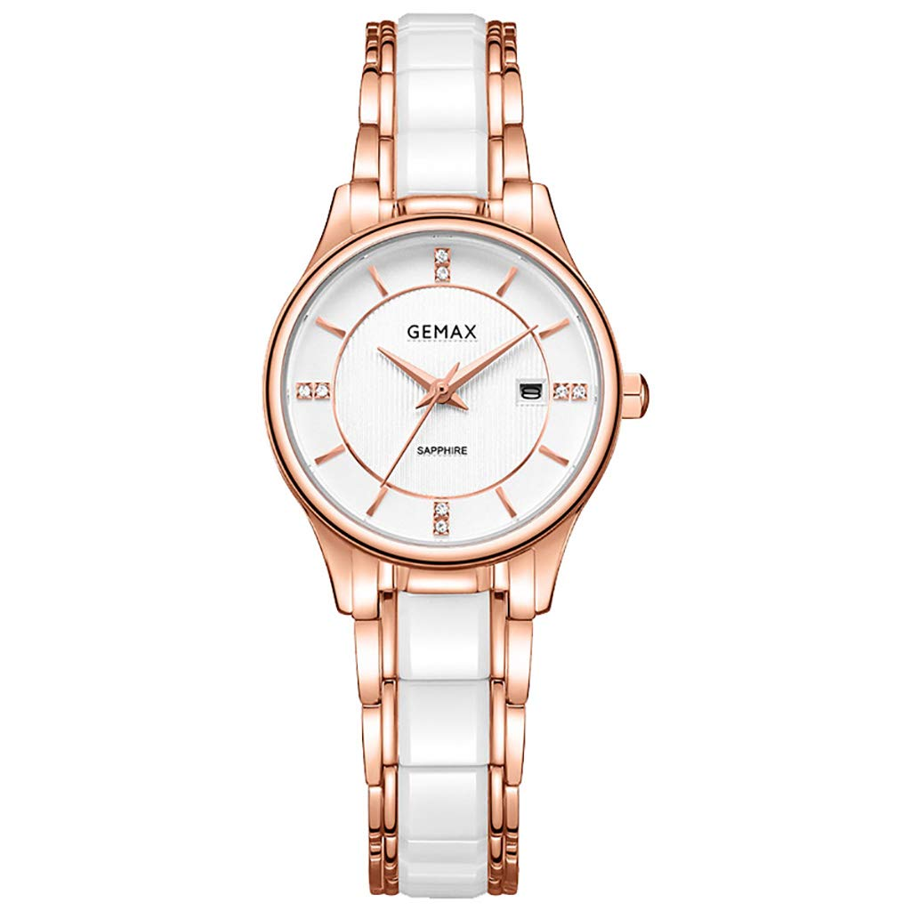 ブレスレットが付いている白い女性陶磁器の水晶腕時計、陶磁器の革紐が付いている流行の防水ブレスレットの腕時計、古典的なカレンダーの窓