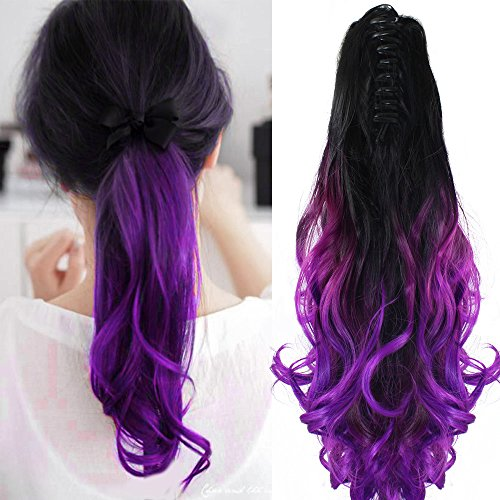"Neverland Beauty 22"" Claw on Ombre Two Tone Synthetic Curly Wavy Ponytail Hair Extensions Natural Black to Violet Purple"