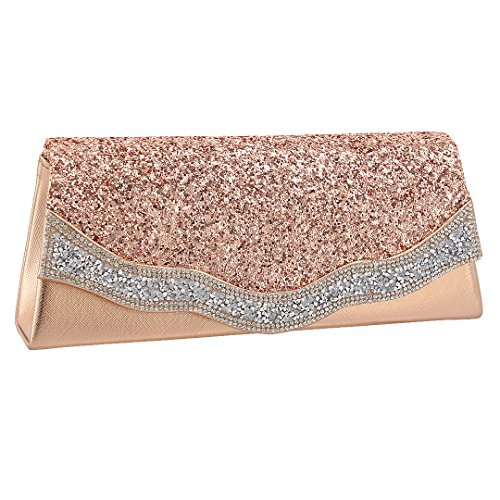 Clutch Detachable Naimo Bag Bag Dazzling With Flap Champagne Ladies 073 Evening Chain qqTAt1n