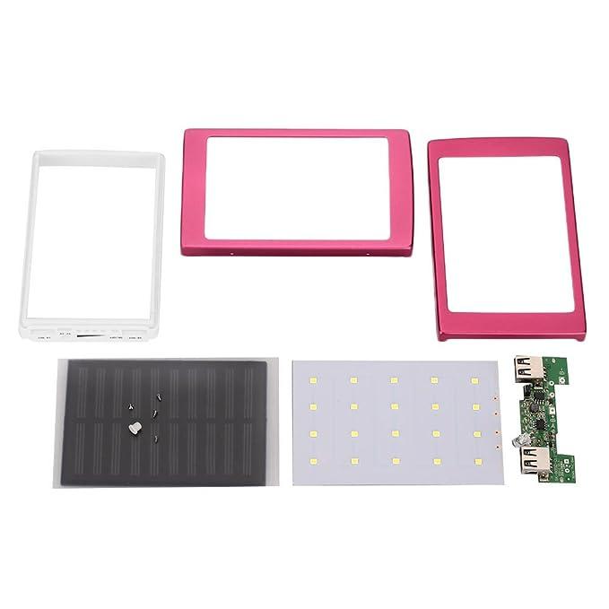 Cewaal Impermeable Cargador de batería del panel solar Dual USB LED Powerbank Para la batería 18650 cargador portable casero de DIY