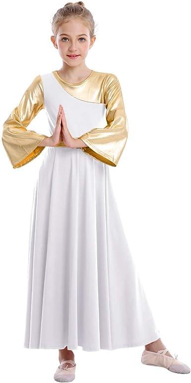 IBAKOM Kids Metallic Liturgical Praise Dance Dress Long Sleeve Lyrical Worship Costume Full Length Church Dancewear for Girls