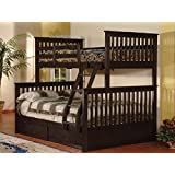 Bunk Bed - Twin Over Double Detachable with Drawers (Espresso)