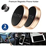 2 Pack Magnetic Phone Holder for Car, Home, Office, Cell Phone Mount, Cell Phone Holder, iPhone, Samsung, All Phone Compatible, Stainless Metal (Gold, Magnetic Phone Holder)