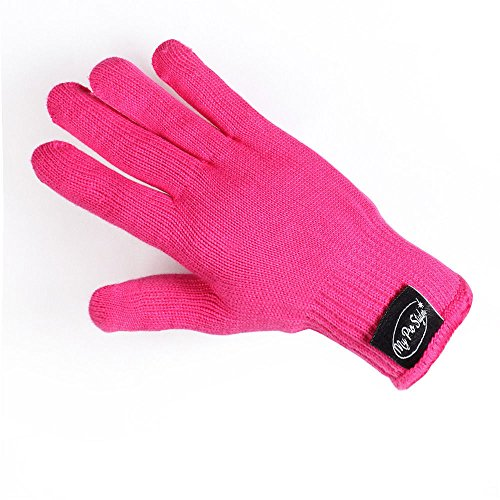 Professional Heat Resistant Glove for Hair Styling Heat Blocking for Curling, Flat Iron and Curling Wand 1pcs(Hot Pink) (Heat Glove Hair compare prices)