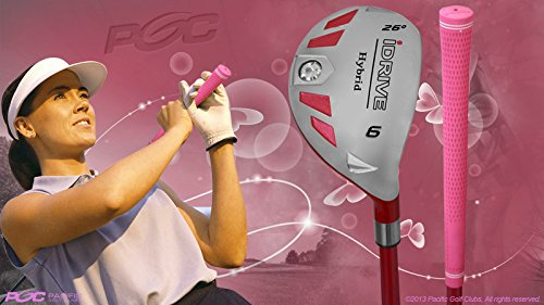 Petite Senior Women's iDrive Golf Clubs All Ladies Pink Hybrid Complete Full Lightweight Set Includes: #6 7 8 9 PW SW Right Handed New Rescue Utility ''Senior'' Flex Club for 4'10'' to 5'3'' Tall