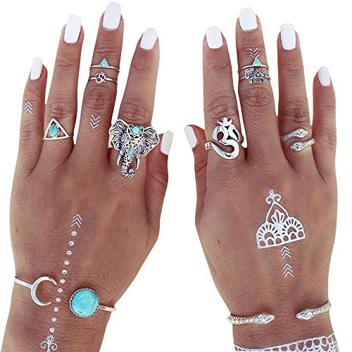 SMALLE ◕‿◕ Earrings for Women Fashion, Bohemian Knuckle Ring Set Vintage Silver Crystal Joint Knuckle 8Pcs/Set Steampunk -