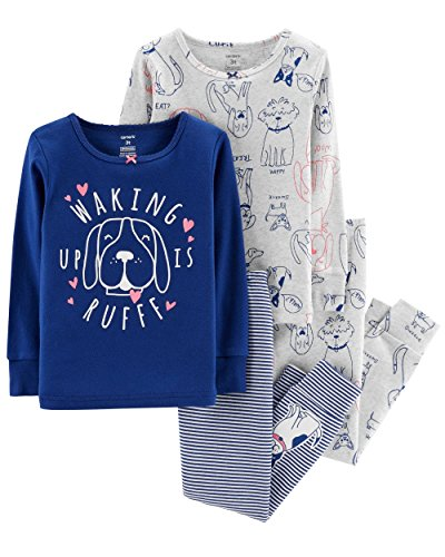 Carters Dog Pajamas - Carter's Girl's 4-Piece Snug Fit Cotton PJ Set, Dogs, 5T