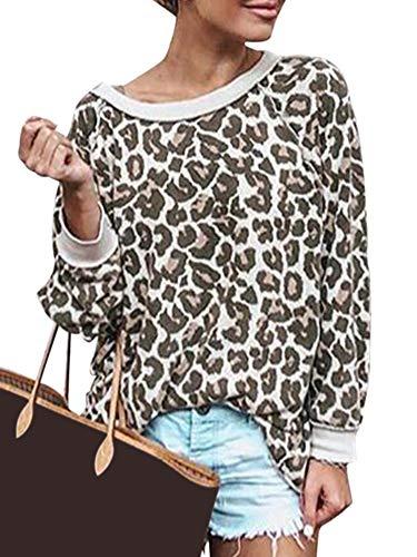 Womens Casual Leopard Printed Crewneck Sweatshirt Ladies Long Sleeve Pullover Top Khaki M