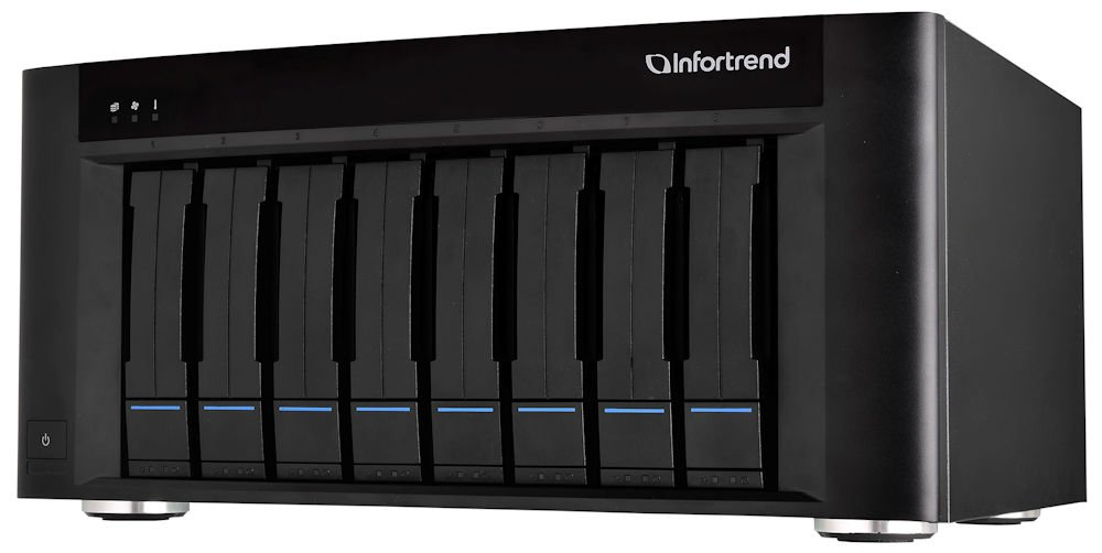 Infortrend High Performance 48TB 8 Bay NAS/SAN with Embedded Cloud Gateway Desktop/Tower RAID Unit with 10GbE/iSCSI (SFP+) and Expansion by Infortrend