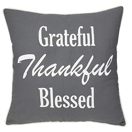 ADecor Pillow Covers Thank You Pillowcase Embroidered Pillow Cover Decorative Pillow Standard Cushion Cover Gift Love Couple Wedding Housewarming P337 (18X18, Grateful(Grey))